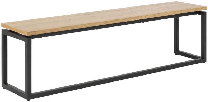 Dolton Dining Bench - Brushed Wild Oak and Metal