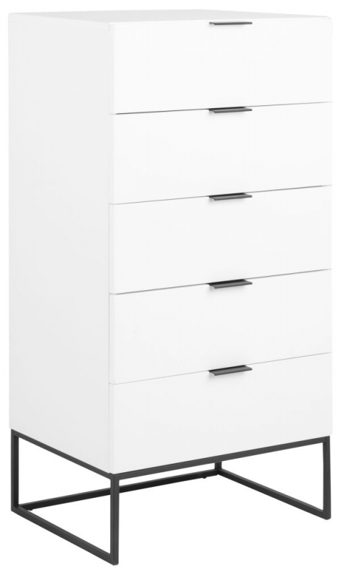 Kimbolton White 5 Drawer Chest with Black Metal Legs
