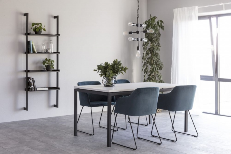 Kimbolton White Top Dining Table with Black Metal Legs