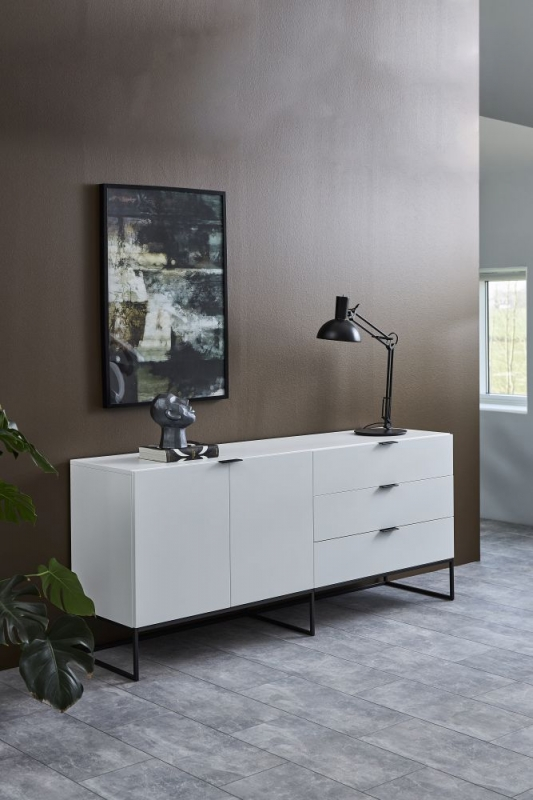 Kimbolton White Sideboard with Black Metal Legs