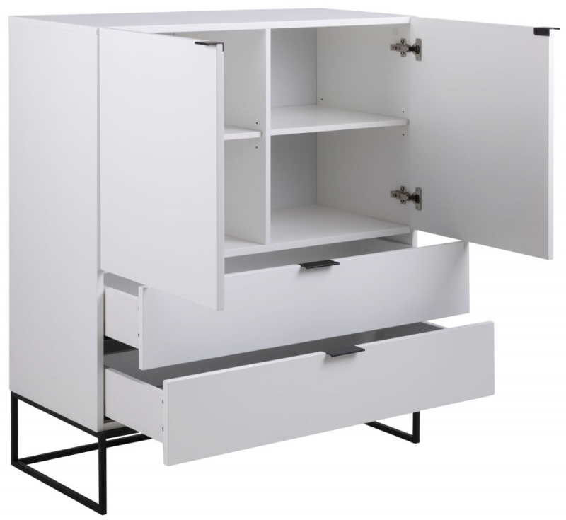 Kimbolton White Highboard with Black Metal Legs