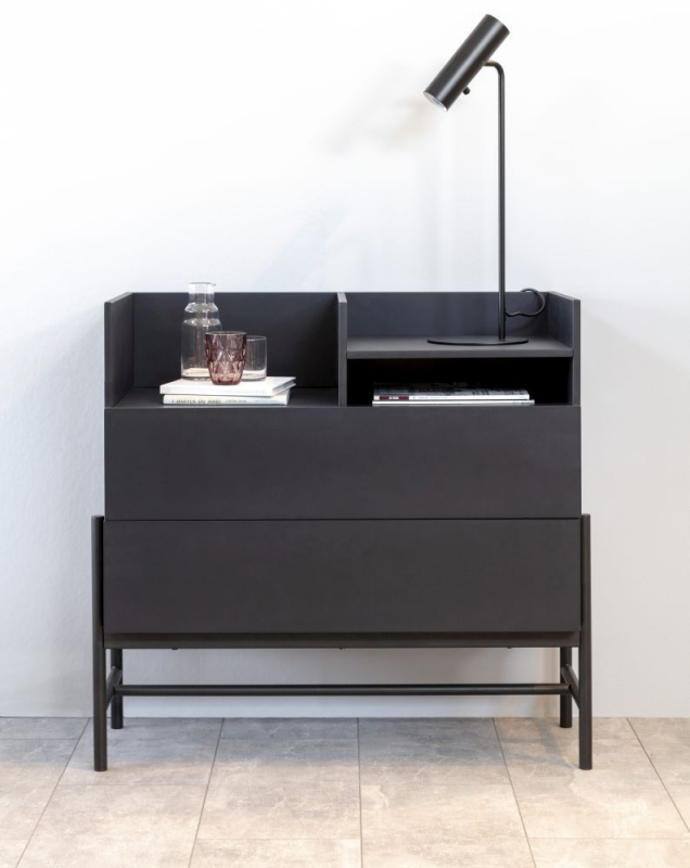 Nevis Black 2 Drawer Chest with Metal Legs