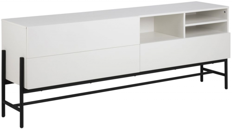 Nevis White Sideboard with Black Metal Legs