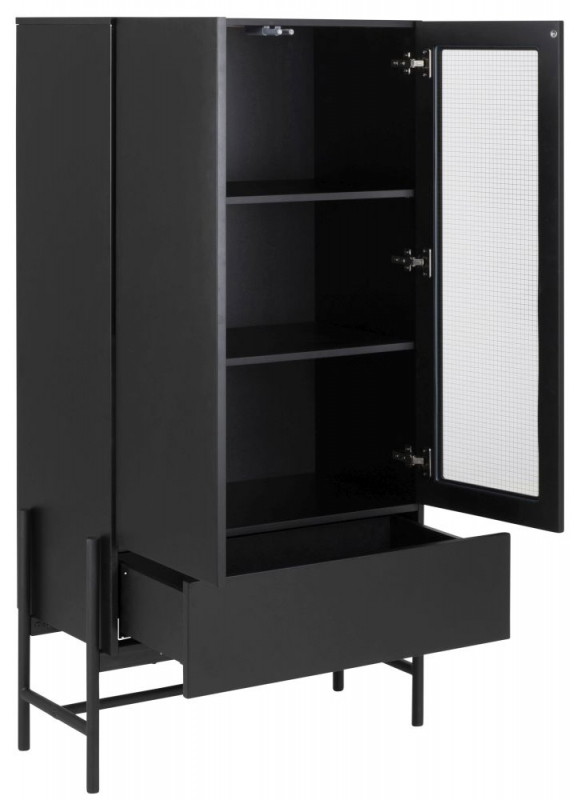Nevis Black Display Cabinet with Metal Legs