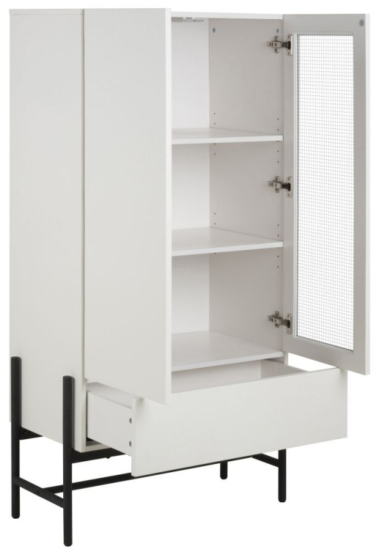 Nevis White Display Cabinet with Black Metal Legs