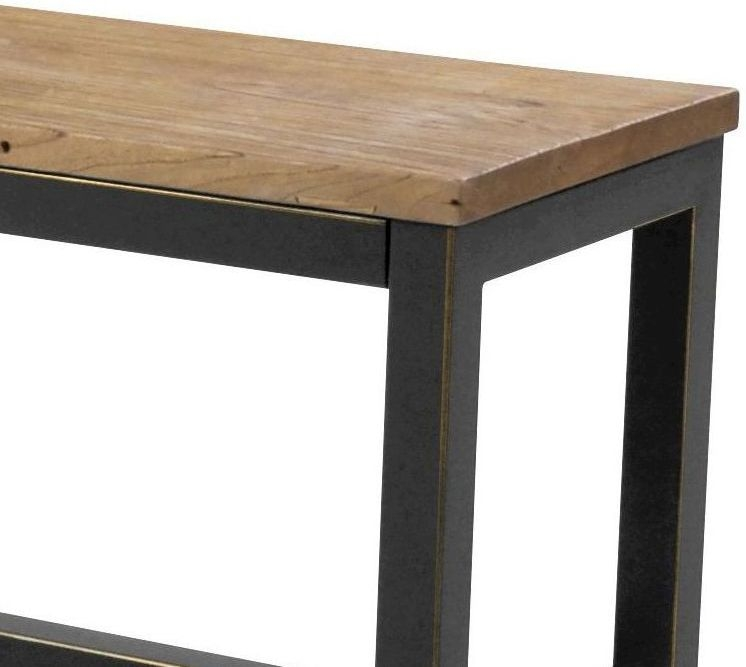 Vinton Industrial Elm Wood Dining Bench