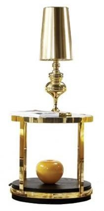 Dietrich End Table - Glass and Gold