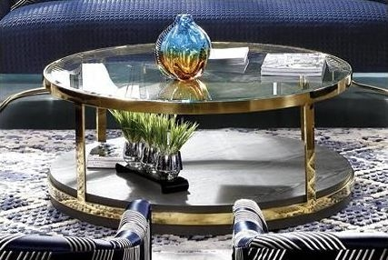 Keaton Coffee Table - Glass and Gold