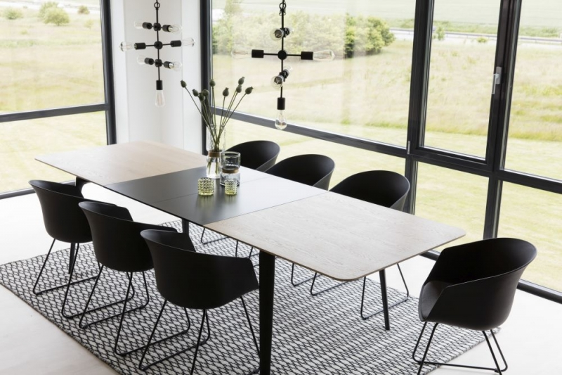 Campton Oak Extending Dining Table with Black Metal Legs