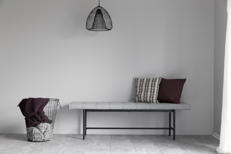 Sebeka Light Grey Fabric Dining Bench with Black Metal Legs