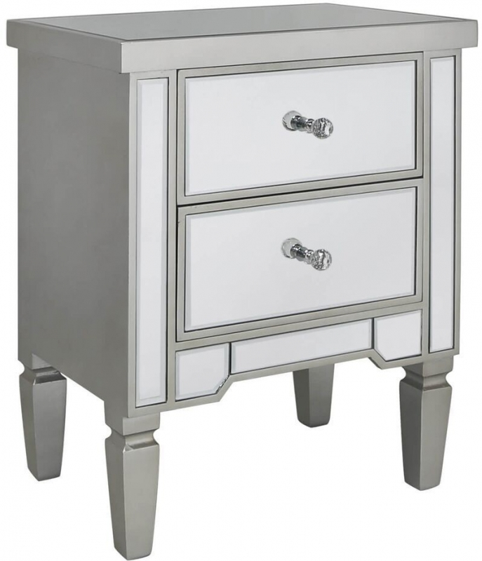 Clearance - Mergo Mirrored Champagne Trim Bedside Cabinet - New - FS0044