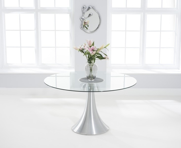 Clearance - Mark Harris Petra Round Dining Table - Glass and Chrome - New - FS0011