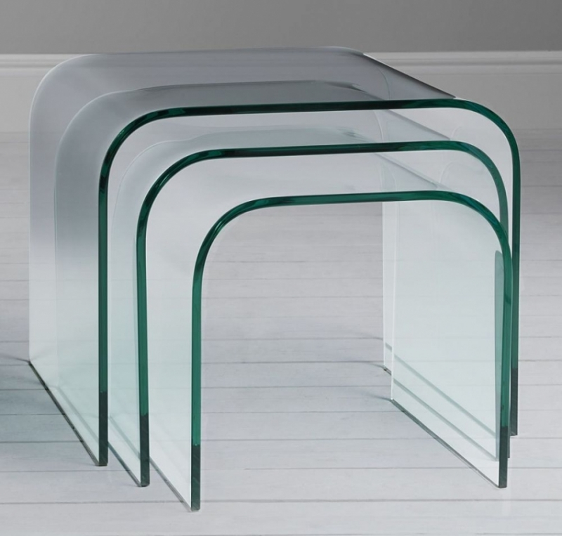 Clearance - Greenapple Pure Glass Arc Nest of Tables - New - FS0047