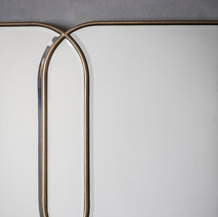 Clearance - Gallery Direct Kennford Rectangular Mirror - Gold 130cm x 50cm - New - FS0005