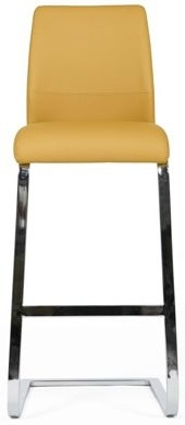 Clearance - Seattle Ochre Faux Leather Stool (Pair) - New - FS0031