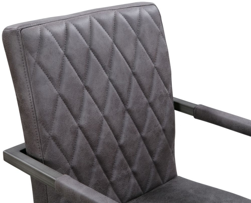 Pergo Industrial Grey Leather Dining Armchair (Pair)