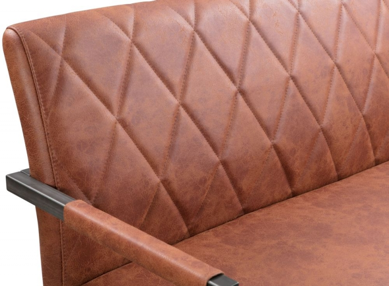 Pergo Industrial Tan Leather Dining Bench