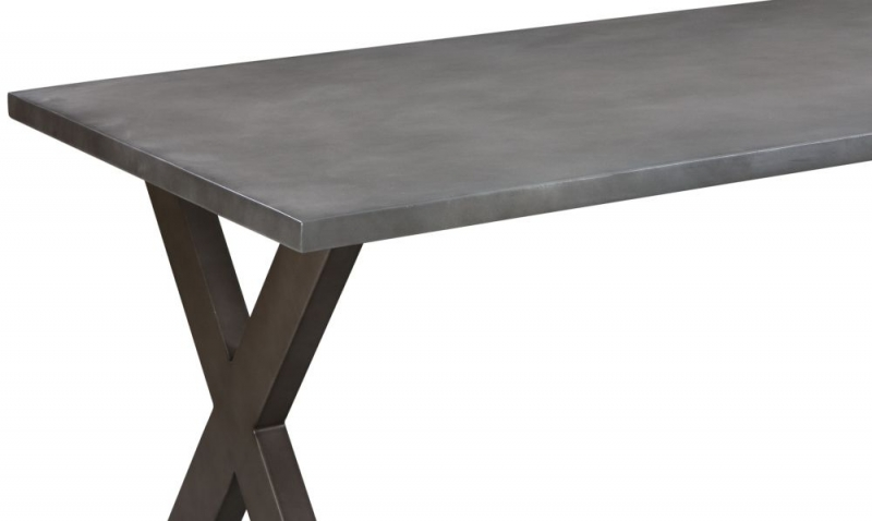 Pergo Industrial X Base Medium Dining Table with 2 Chairs and Armchairs and Bench - Concrete and Grey