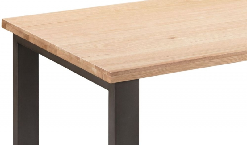 Pergo Industrial U Base Standard Dining Table with 2 Chairs and Armchairs and Bench - Weathered Oak and Grey