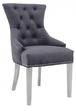 Grey Velvet Fabric Dining Chair with Stainless Steel Legs (Pair)
