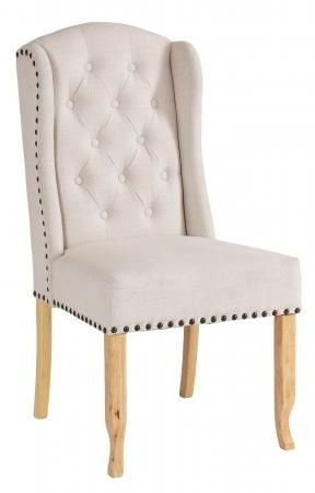 Beige Fabric Dining Chair with Wooden Legs (Pair) - 6030