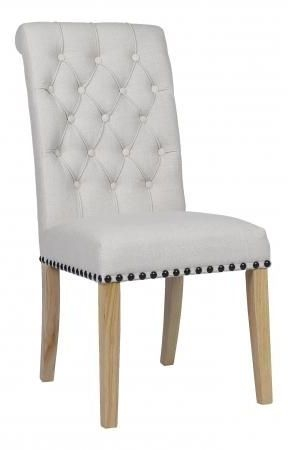 Beige Fabric Dining Chair with Wooden Legs (Pair) - DX-30