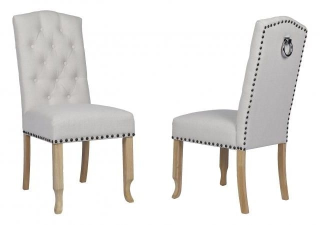 Beige Fabric Dining Chair with Wooden Legs (Pair) - DX-6031