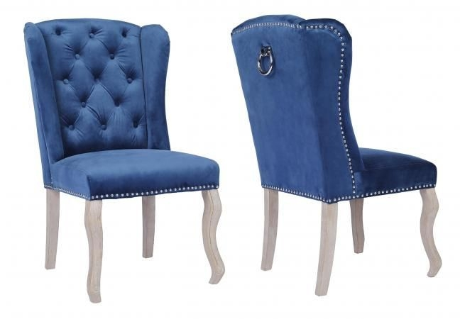 Dark Blue Fabric Dining Chair with Wooden Legs (Pair)