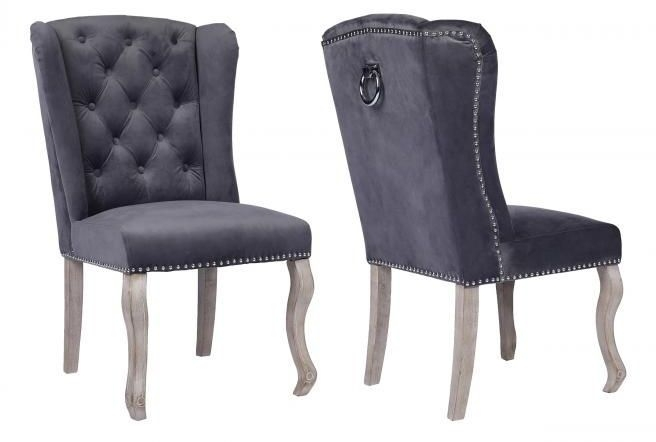 Dark Grey Fabric Dining Chair with Wooden Legs (Pair)