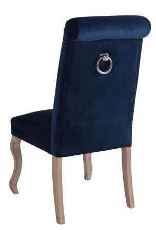Dark Blue Fabric Dining Chair with Wooden Legs (Pair) - DX6040-DB