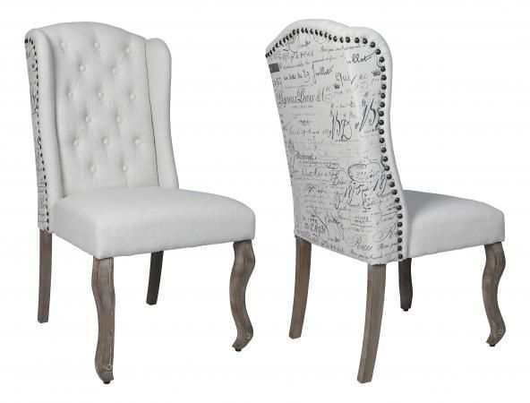 Beige High Back Dining Chair with Wooden Legs (Pair)