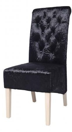 Black Velvet Fabric Dining Chair with Wooden Legs (Pair)