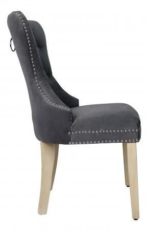 Grey Velvet Fabric Dining Chair with Wooden Legs (Pair) - ZB-D104-G