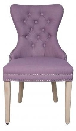 Purple Velvet Fabric Dining Chair with Wooden Legs (Pair)