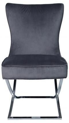 Grey Velvet Fabric Dining Chair with Chrome Legs (Pair)
