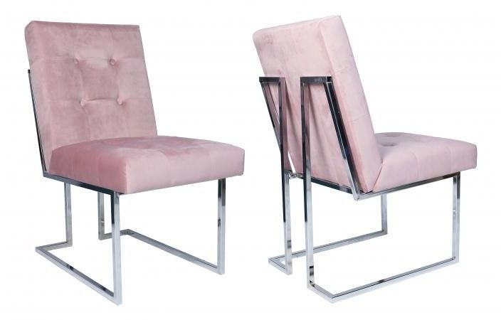 Pink Velvet Fabric Dining Chair with Chrome Legs (Pair)