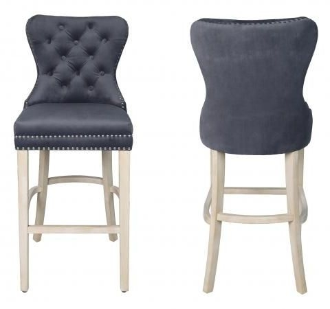 Grey Velvet Fabric Bar Stool (Pair)