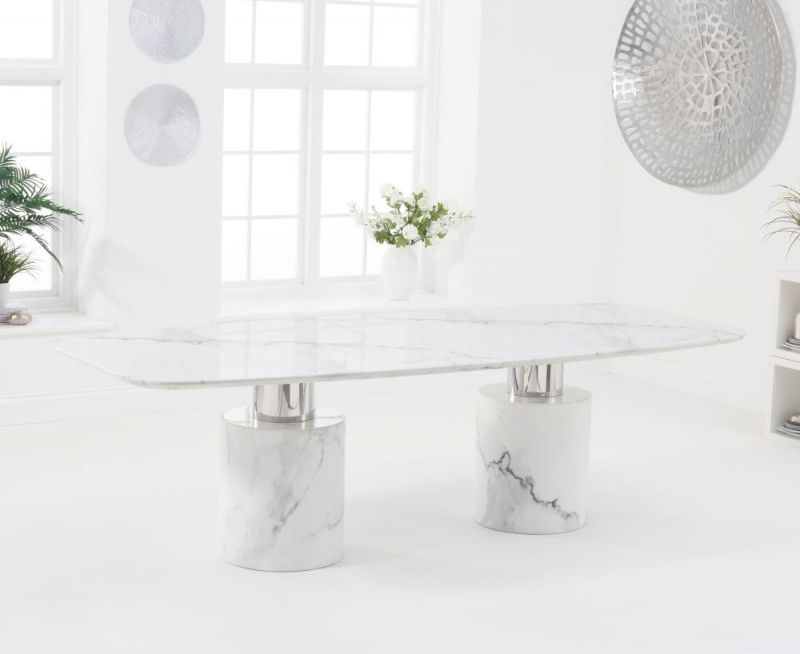 Mark Harris Adeline White Marble Oval Dining Table