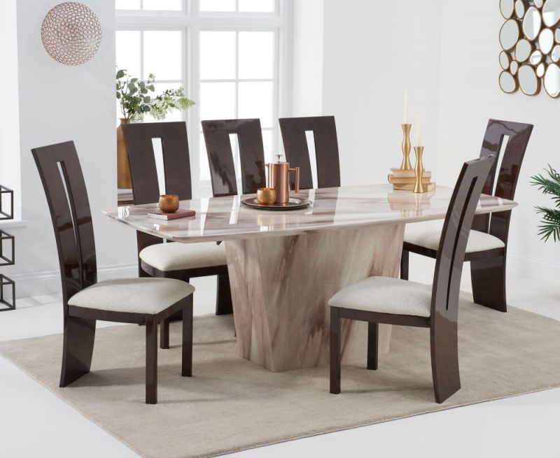 Mark Harris Fariah Brown Engineered Marble Dining Table