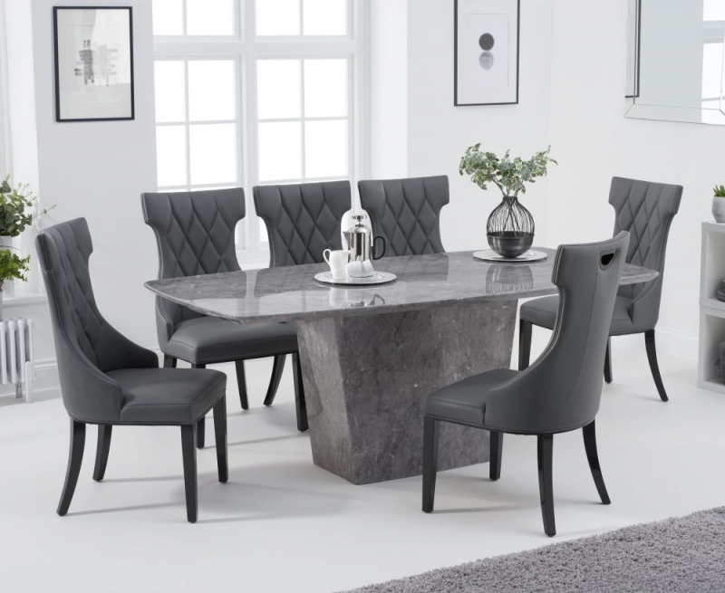 Mark Harris Fariah Light Grey Engineered Marble Dining Table