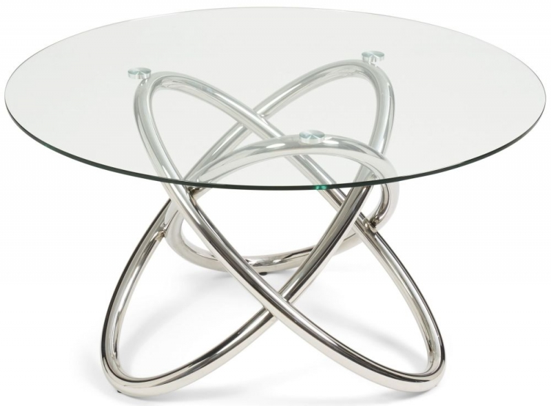 Mark Harris Dina Round Dining Table - Glass and Chrome
