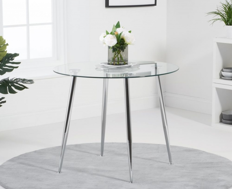 Mark Harris Carolina Round Dining Table - Glass and Chrome