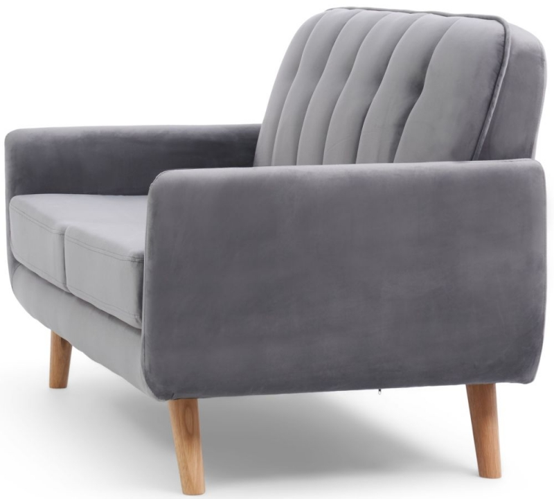 Mark Harris Caren Grey Velvet 2 Seater Sofa