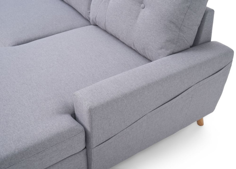 Mark Harris Carlotta Grey Linen Fabric Right Facing Corner Chaise Sofa