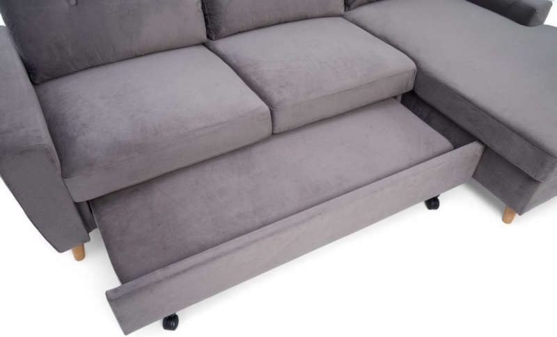 Mark Harris Carlotta Grey Velvet Right Facing Corner Chaise Sofa