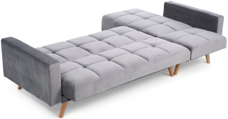 Mark Harris Abigail Grey Velvet Left Hand Facing Corner Chaise Sofa Bed