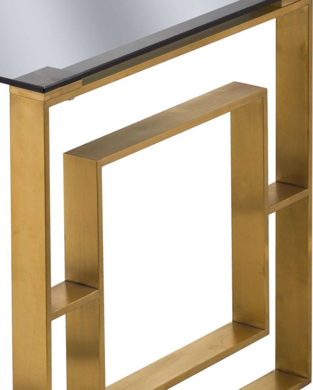 Hill Interiors The Edwin Side Table - Black Glass and Gold Metal