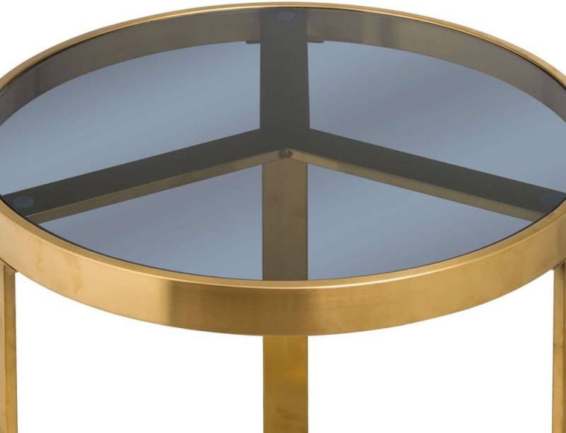 Hill Interiors The Edwin Round Side Table - Black Glass and Gold Metal