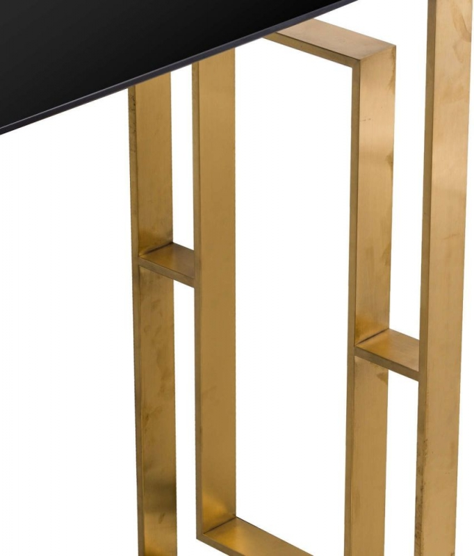 Hill Interiors The Edwin Console Table - Black Glass and Gold Metal