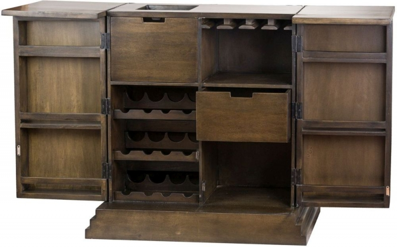 Hill Interiors The Vinus Mirrored Folding Bar Cabinet